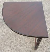 Corner Mahogany Table / Stand with Makers Label